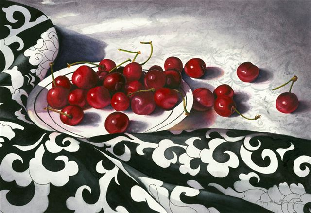 "CHERRIES JUBILEE I - 22x30"" - watercolor"