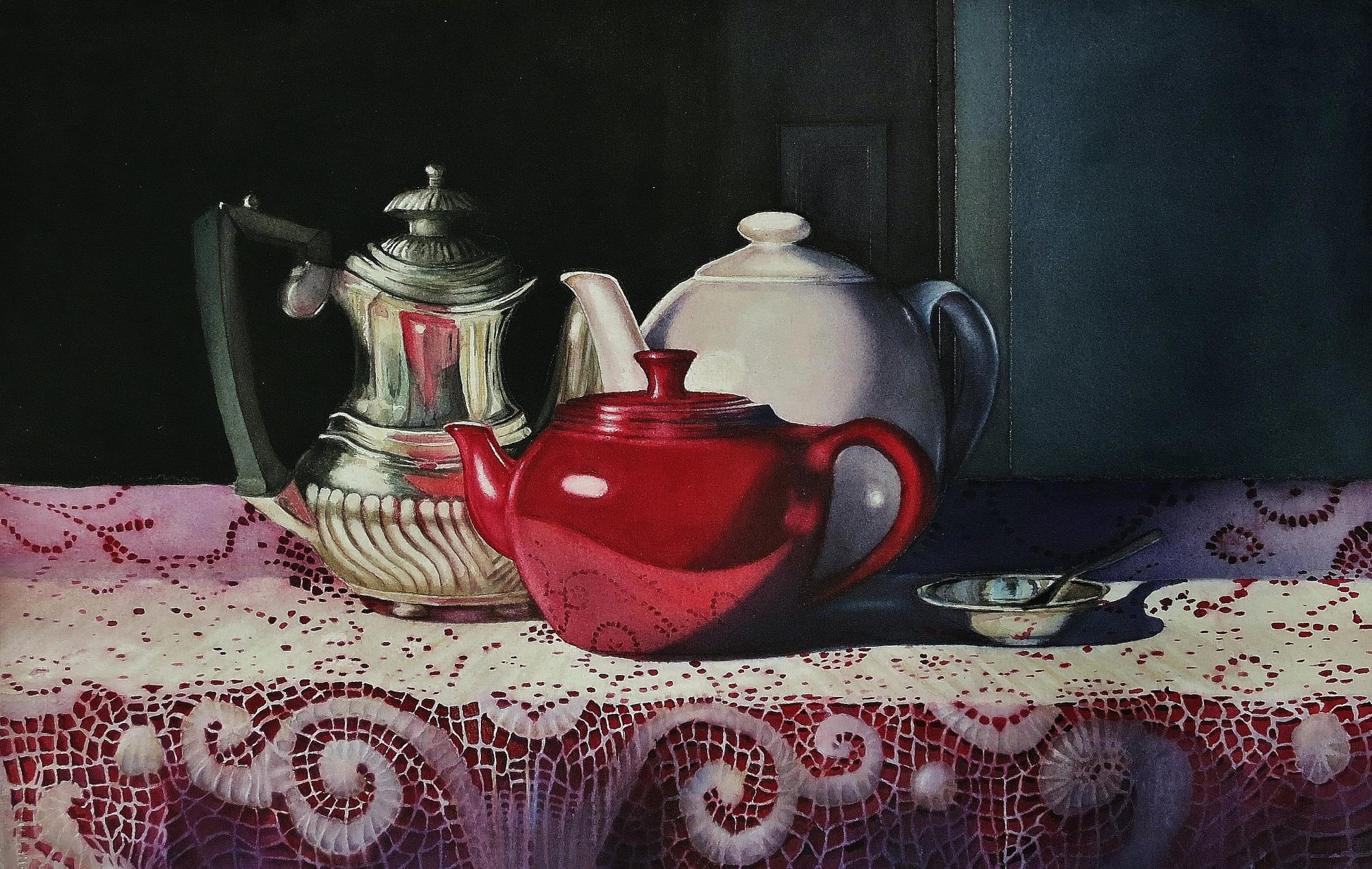 "GRANDMA'S TEAPOTS - 22x15"" -watercolor"