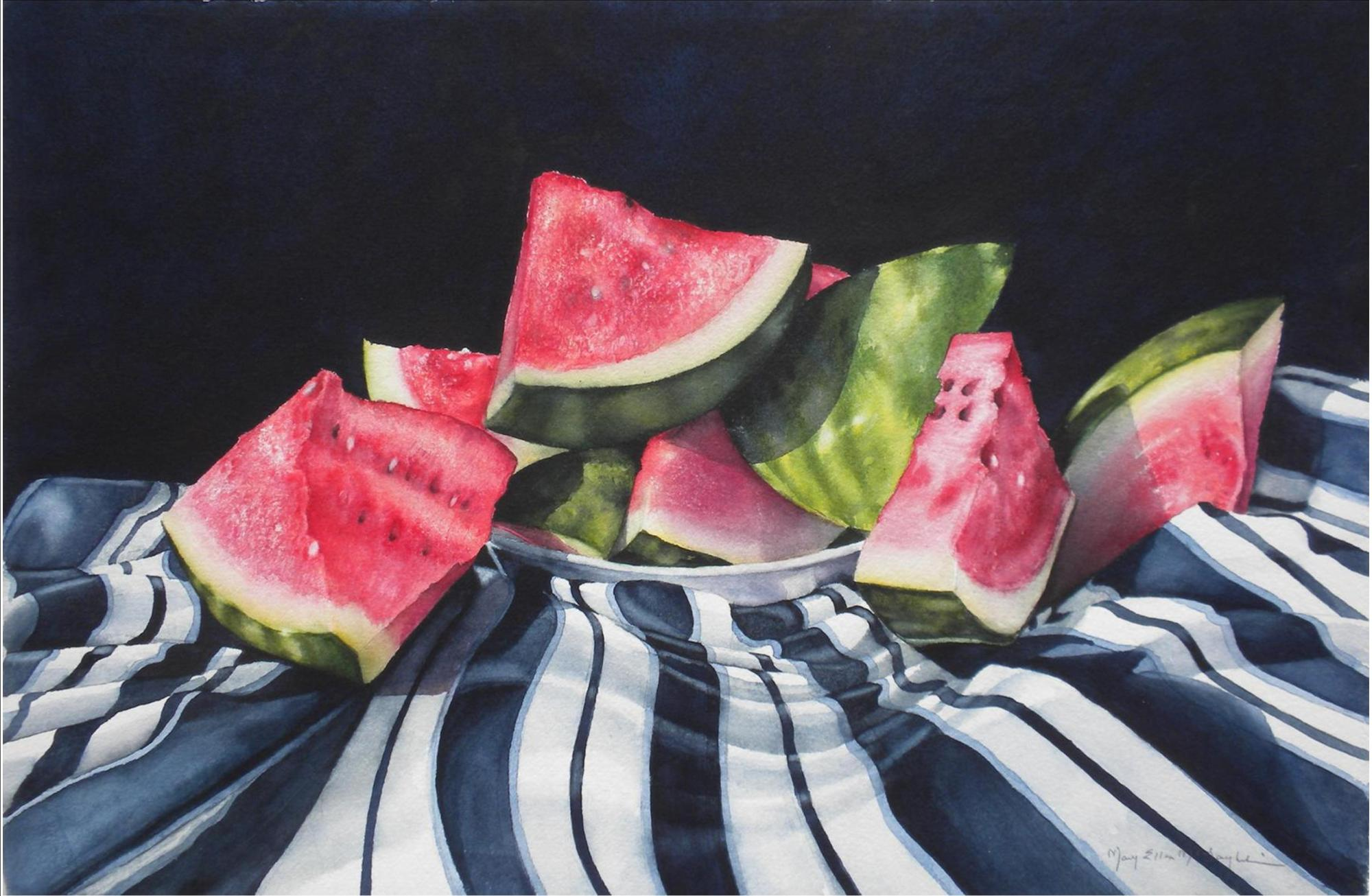 "STILL LIFE WITH WATERMELON - 22x15"" - watercolor"