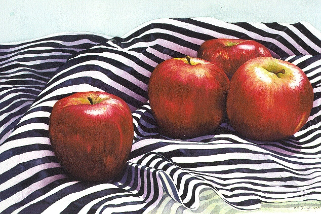 "STILL LIFE WITH APPLES 1 - 30x22"" - watercolor"