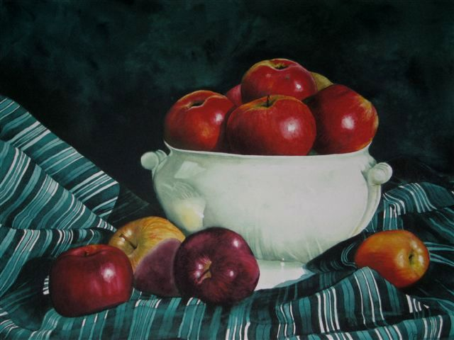 "STILL LIFE WITH APPLES II - 30x22"" - watercolor"