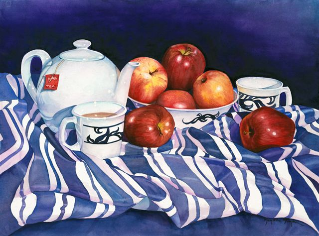 "STILL LIFE WITH APPLES III - 30x22"" - watercolor"