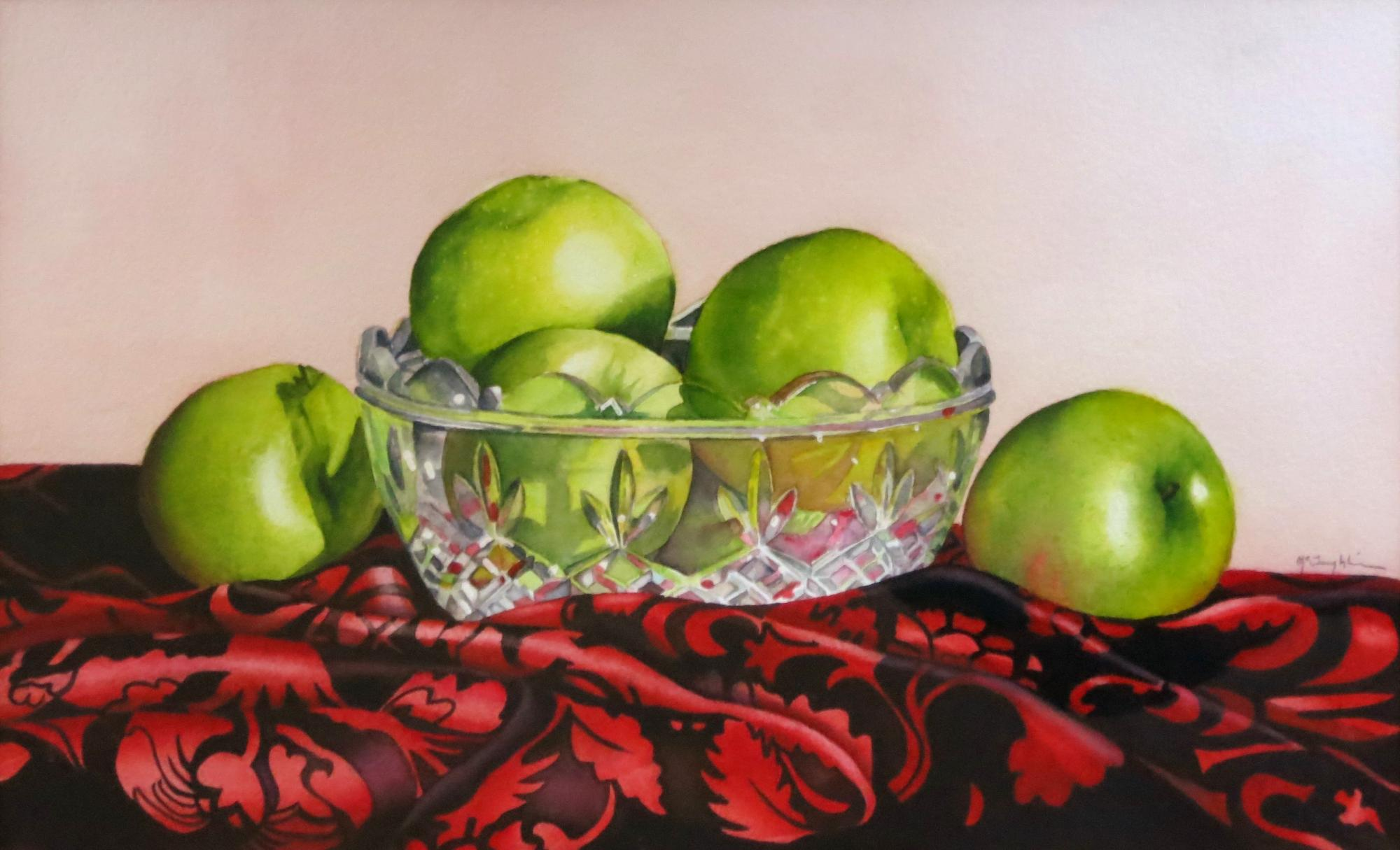 "GRANNY SMITHS - 15X22"" - watercolor"